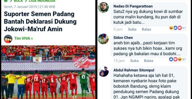 Setelah Persib, Kini Suporter Semen Padang Bantah Deklarasi Dukung Jokowi-Ma'ruf