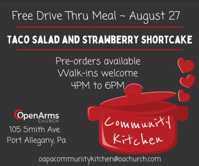 8-27 Free Drive Thru Meal At The Open Arms Church