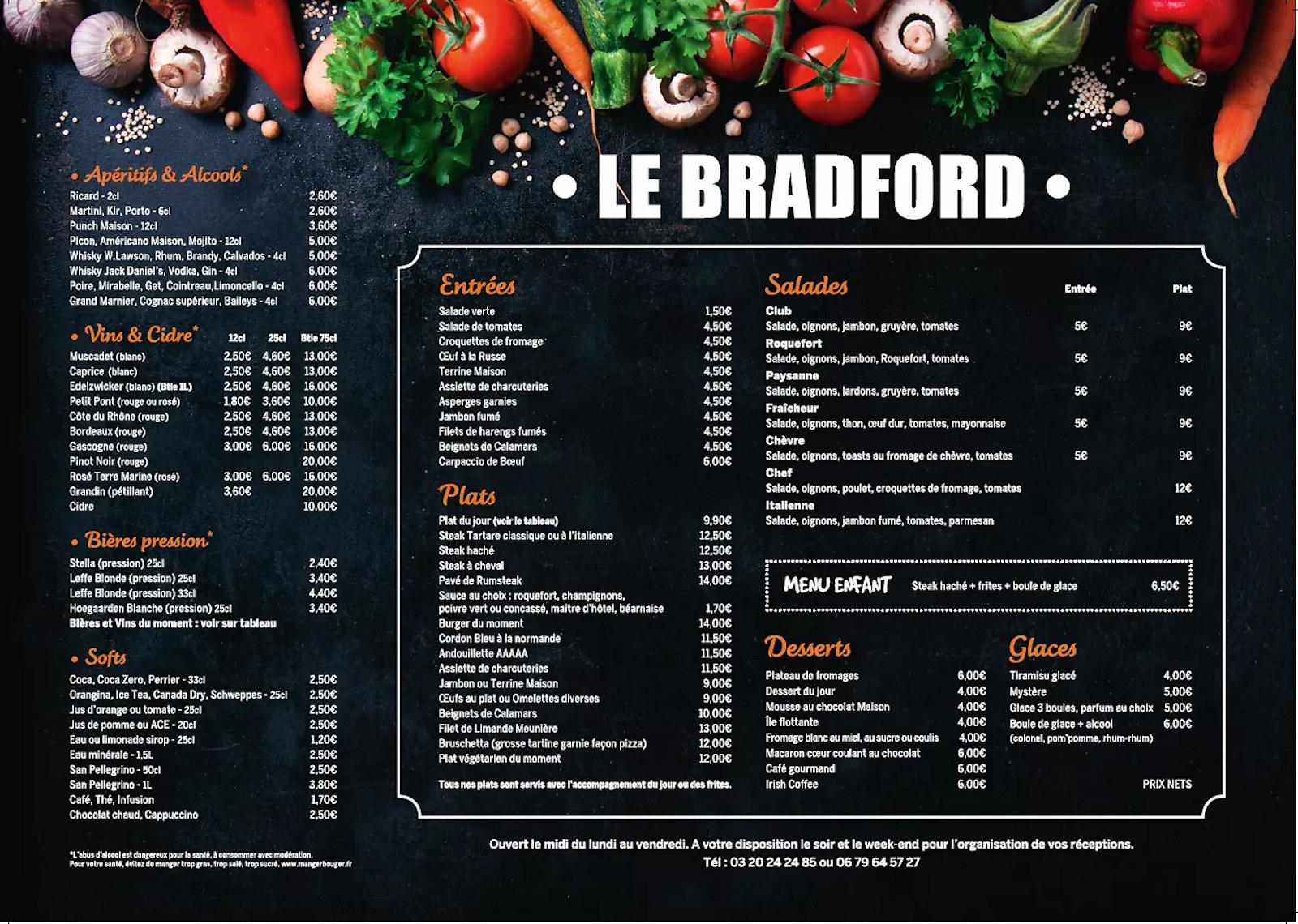 Carte et Menus - Restaurant Le Bradford - Tourcoing, rue de Bradford