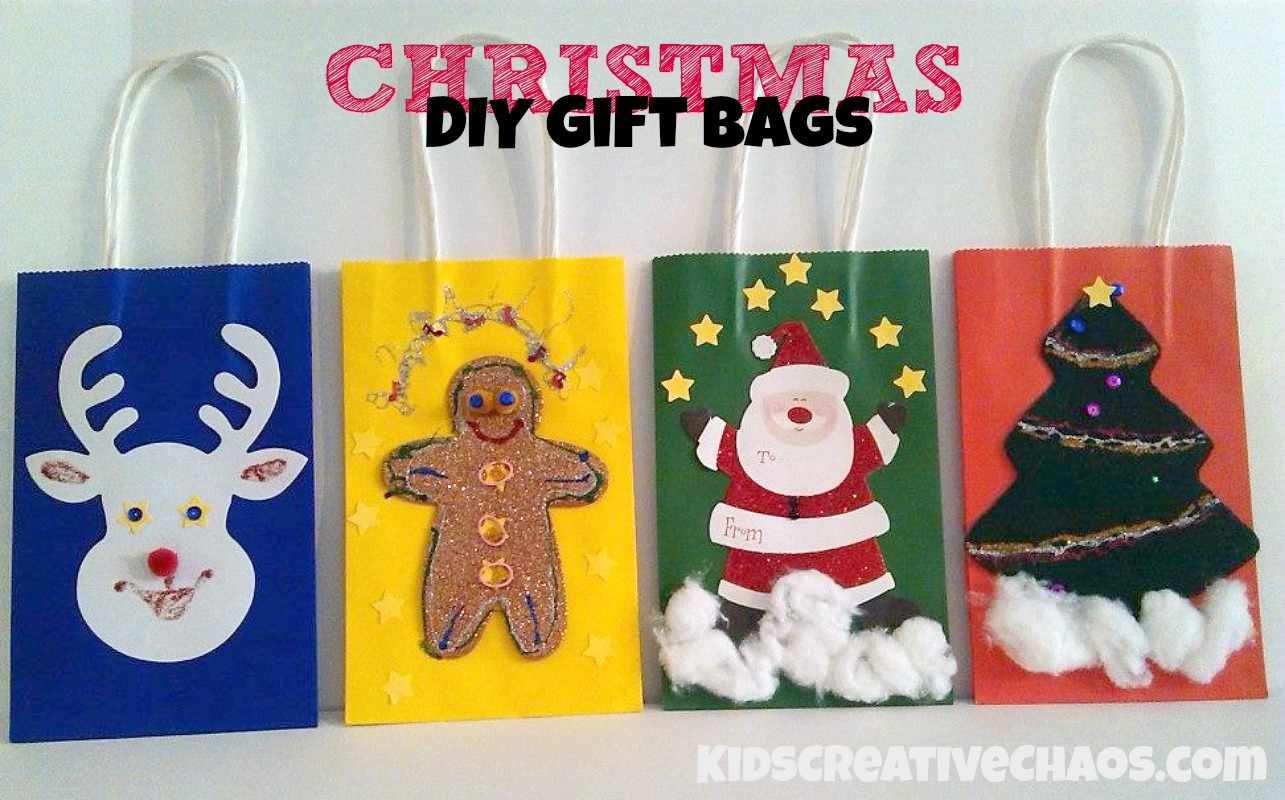 Diy christmas gift bag ideas kids creative chaos for Bag decoration ideas