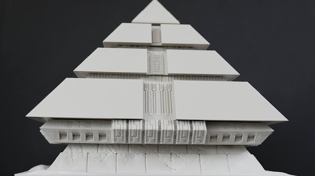 3D printed parts for the Stargate Pyramid with the base and no faces attached.