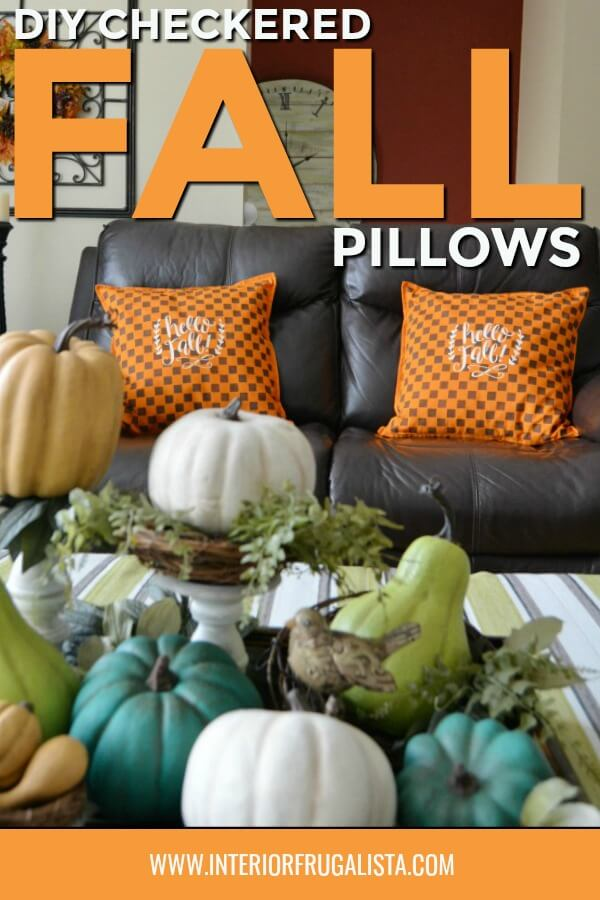 These unique checkered fall pillows in traditional autumn colors are so easy to make plus they are a space-saving option for storing seasonal pillows. #fallpillowsdiy #autumnpillowsdiy