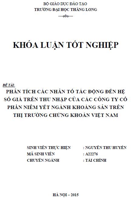 Phân tích các nhân tố tác động đến hệ số giá trên thu nhập của các Công ty Cổ phần niêm yết ngành khoáng sản trên thị trường chứng khoán Việt Nam