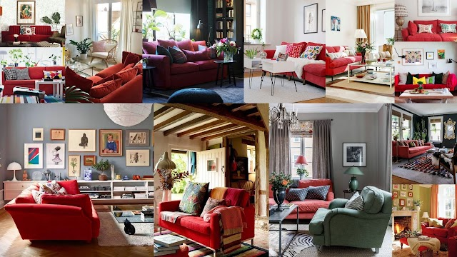 25+ Διακοσμήσεις σαλονιού με κόκκινο καναπέ