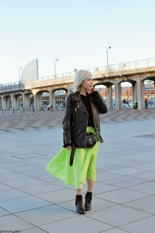 Japanese Fashion Blogger,MizuhoK,20190127OOTD, ZARA=over size biker jacket, ZAFUL= BELL SLEEVES KNIT SWEATER, CHOIES= lime green flare skirt, Free's mart=boots, FLINT BY FOXLANE COLLECTIVE=bag