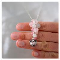 pendentif coeur grappe perles jade rose