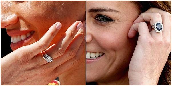 anel de noivado e aliança de casamento meghan markle e kate middleton