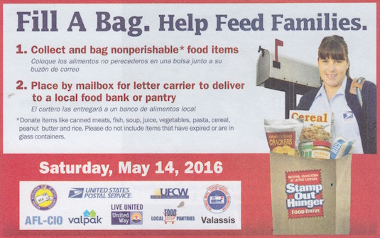 Stamp Out Hunger 2016 postcard