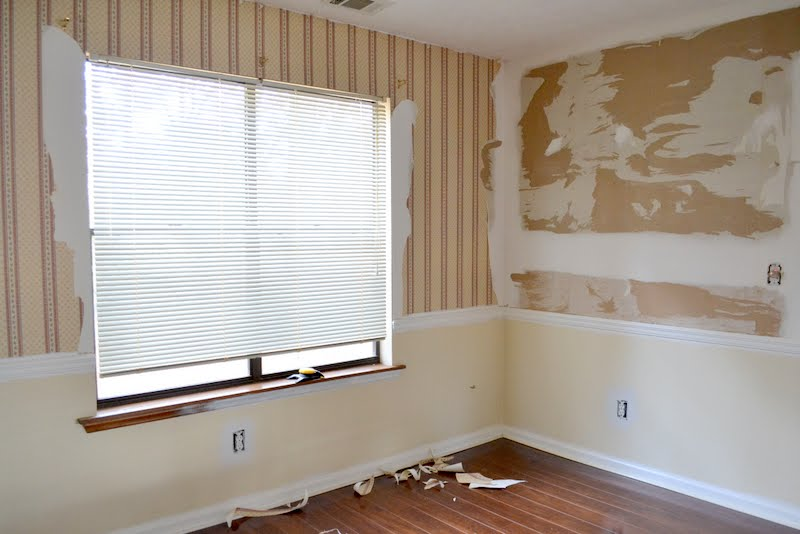 dining room wallpaper removal