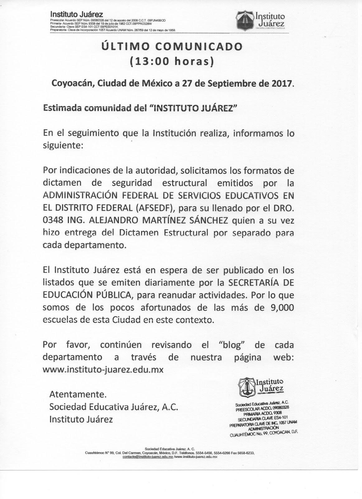 Instituto Juárez 4° Preparatoria: 09/01/2017 - 10/01/2017