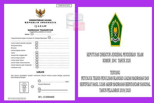 Bagaimanakah Cara Penulisan Blangko Ijazah dan Sertifikat Hasil Ujian Akhir Madrasah Berstandar Nasional (SHUAMBN) Jenjang RA, MI, MTS, MA 2020?