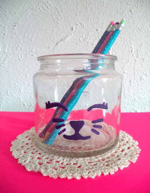 DIY Cat Jar Pencil Holder