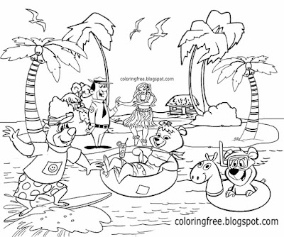 Yogi characters printables Island vacation waterfront chalet beach camping in Hawaii tropical cabin