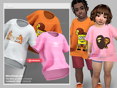 Oversized Tees Toddlers F/M for The Sims 4