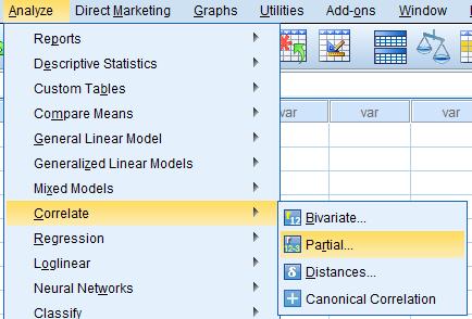 cara menghitung korelasi parsial dengan menggunakan program spss statistik 3