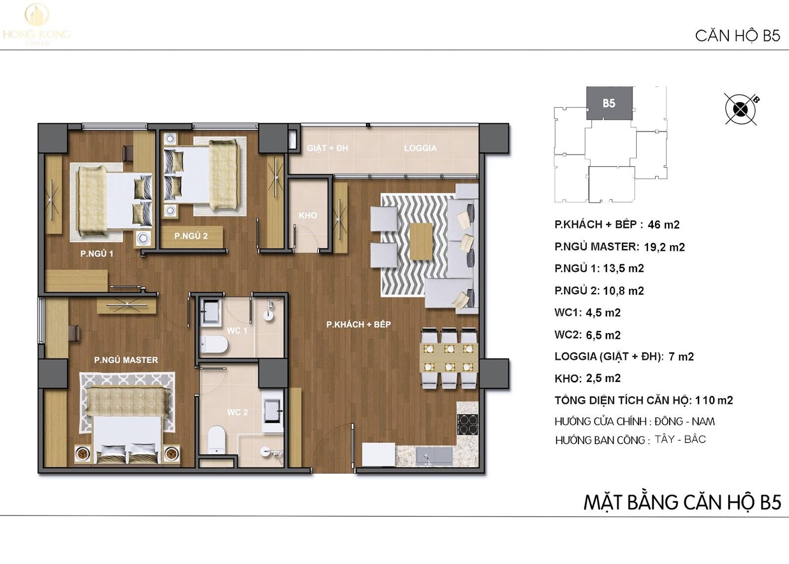 Mặt bằng thiết kế căn B5 chung cư 243A Đê La Thành