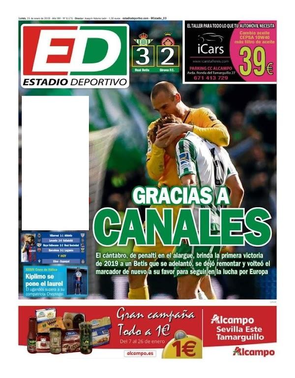 """Betis, Estadio Deportivo: """"Gracias a Canales"""""""