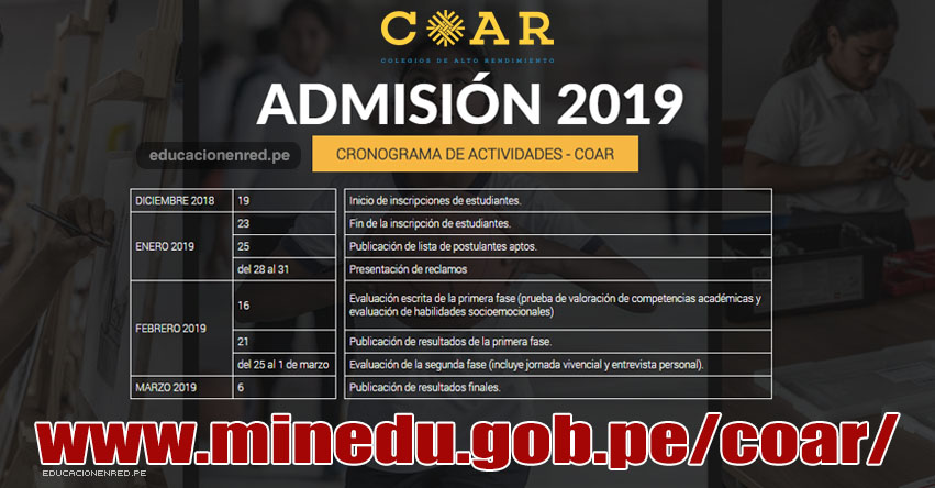 COAR: Cronograma Admisión 2019 (Inscripción 19 Diciembre) MINEDU - www.minedu.gob.pe