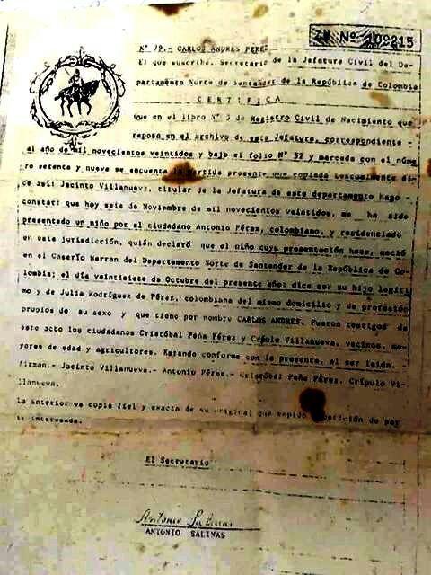La Colmena: La partida de nacimiento original colombiana de Carlos ...