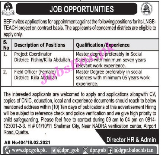 balochistan-education-foundation-bef-jobs-2021-advertisement