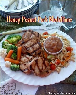 Honey Peanut Pork Medallions: pork tenderloin, sliced, marinated, and grilled. | recipe developed by www.BakingInATornado.com | #recipe #dinner