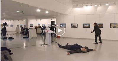 #شاهد : بالفيديو مشاهد جديدة صادمة لاغتيال السفير الروسي في تركيا ..تكشف تفاصيل مذهله !