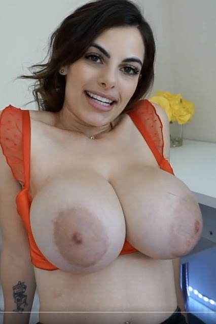 sexy babe with incredible big tits topless big areolas  out of top