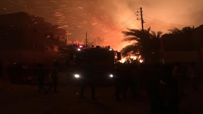حريق هائل في الوادي الجديد