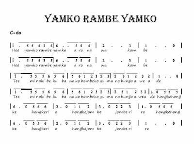 Lirik lagu yamko rambe yamko dan notnya