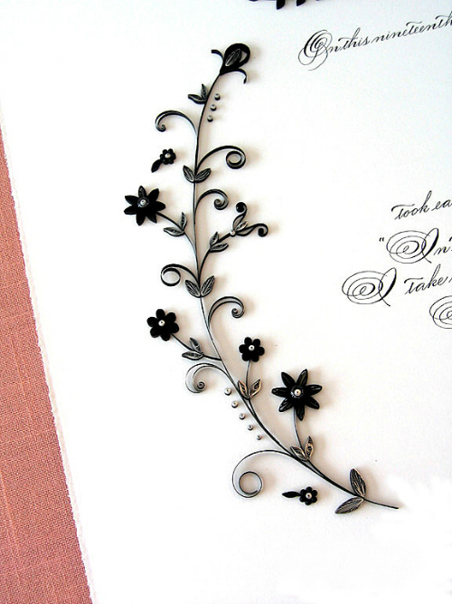 Marriage Certificate with Silver and Black Quilling
