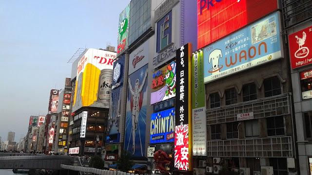 Luces de neón zona Dotombori en Osaka