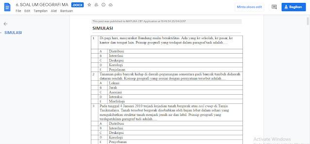 Contoh Latihan Soal Ujian Madrasah (UM) Geografi MA Tahun 2021