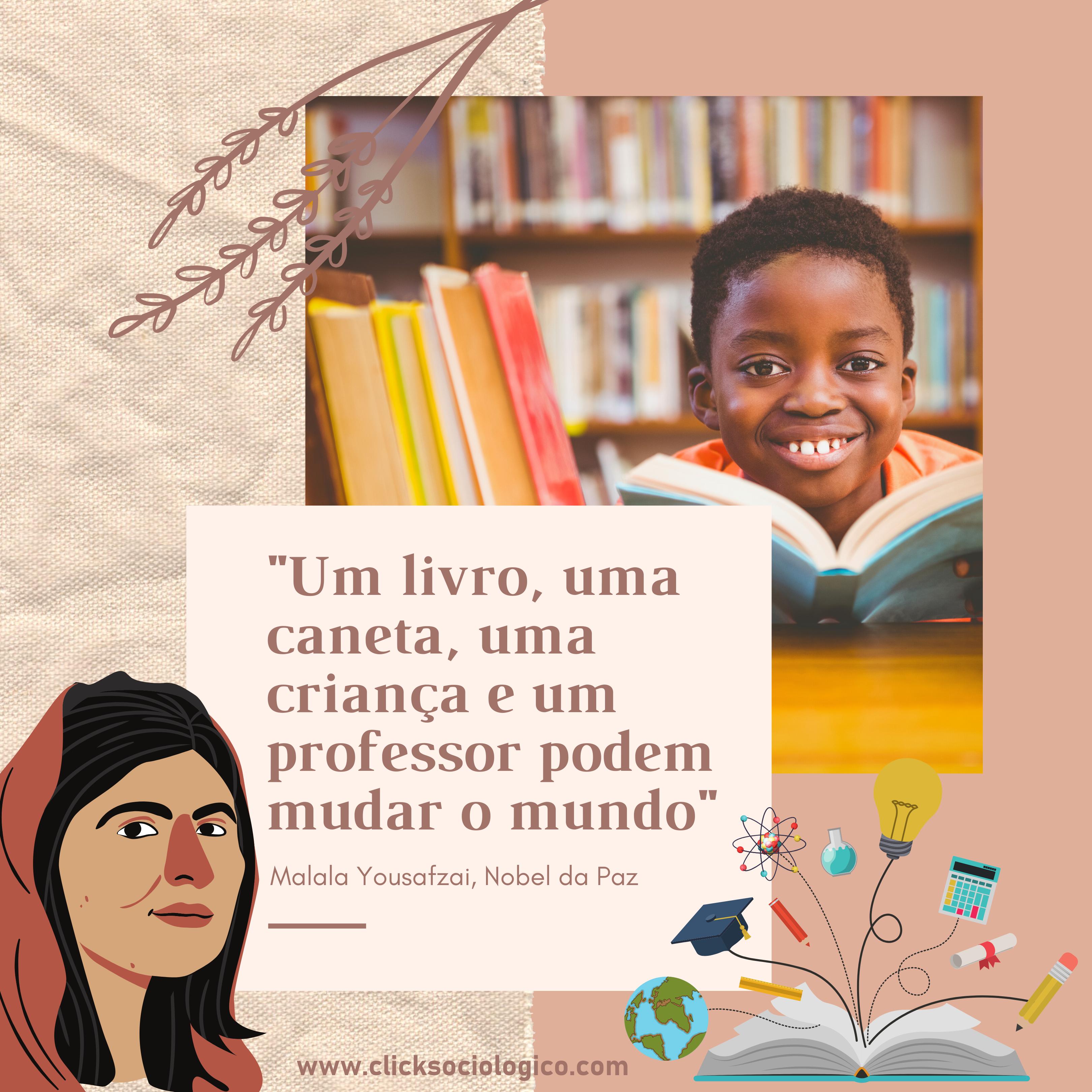 criança feliz estudando com livros e desenho da malala