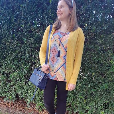 awayfromblue Instagram | hellow yellow mustard cardi mixed print tank black nobody denim skinny jeans navy micro bedford bag