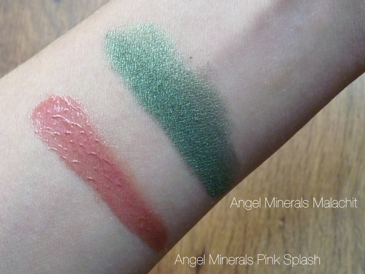 Swatches: Angel Minerals Mini Lip Pink Splash und Lidschatten Malachit