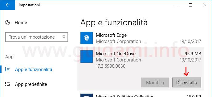 Impostazioni Windows 10 disinstallare applicazione