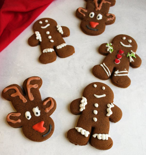 gingerbread men and reindeer decorated with royal icing