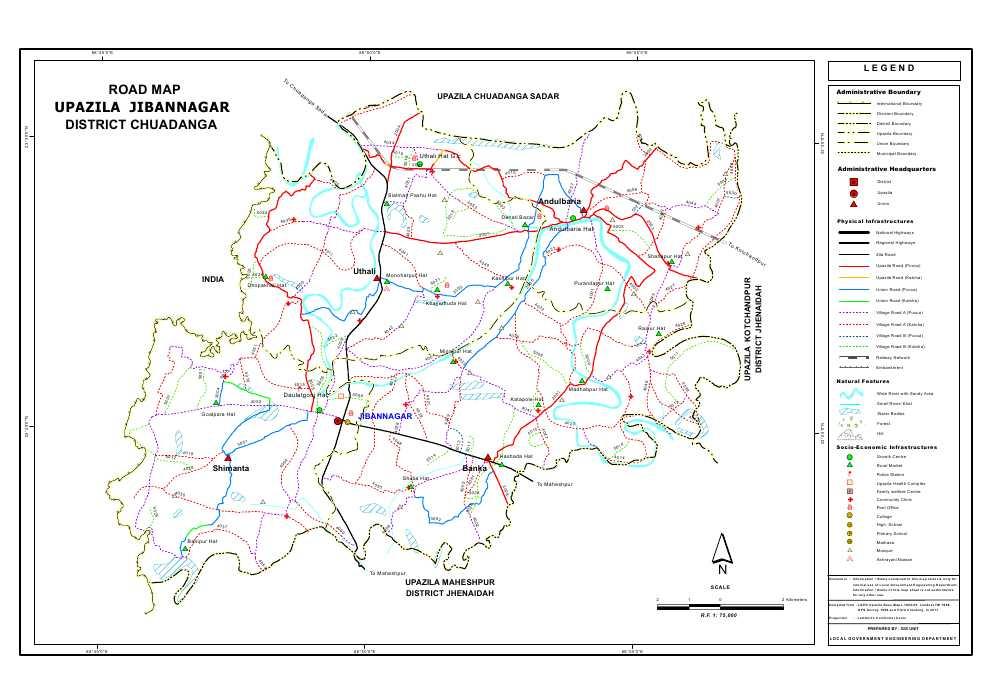 Jibannagar Upazila Road Map Chuadanga District Bangladesh