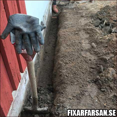 Gräva Grund Dränera Radhus