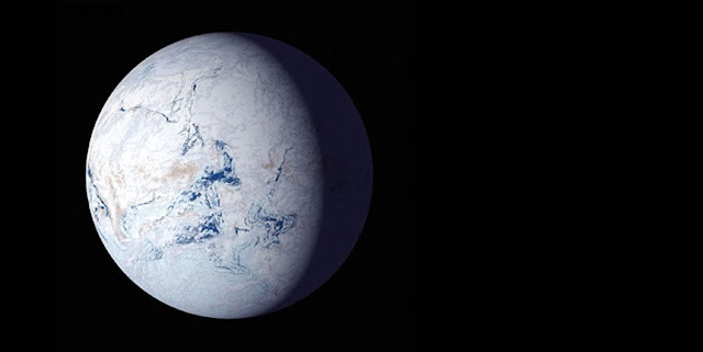 "A NASA artist's impression of Earth as a frigid ""'snowball"" planet. New research from the University of Washington indicates that aspects of an otherwise habitable-seeming exoplanet planet's axial tilt or orbit could trigger such a snowball state, where oceans freeze and surface life is impossible.NASA"