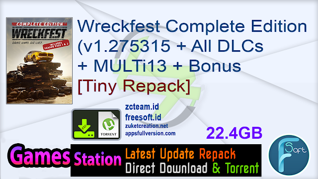 Wreckfest Complete Edition (v1.275315 + All DLCs + MULTi13 + Bonus + Modding Tools) – [Tiny Repack]