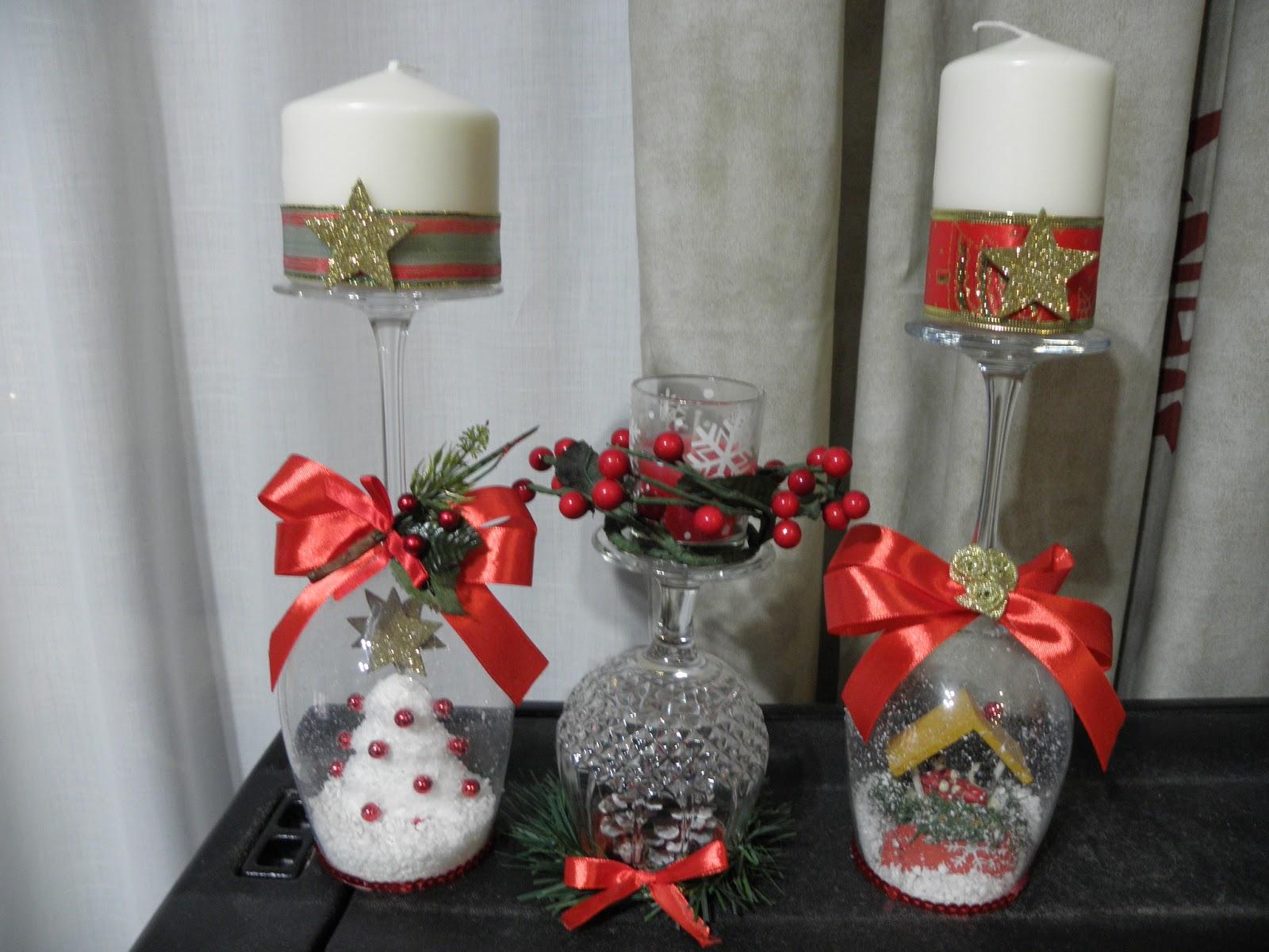 El olor de c diz flores marcos espejos cofres fimo for Adornos navidenos con copas y velas