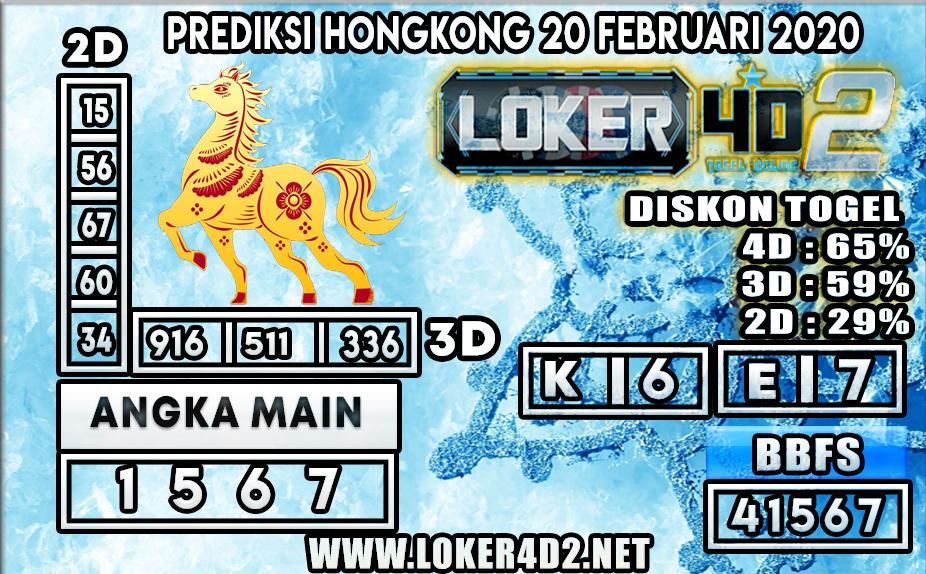 PREDIKSI TOGEL HONGKONG LOKER4D2 20 FEBRUARI 2020