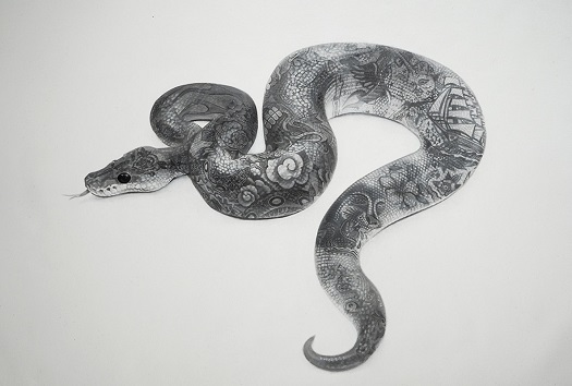 """Tattooed snake"" by Zoe Byland - acrylic and airbrush on canvas 