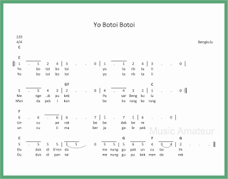 not angka lagu yo botoi botoi lagu daerah bengkulu