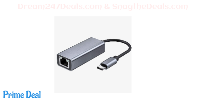 50% OFF  USB C to Ethernet Adapter, USB3.1 Type C RJ45 Gigabit LAN Network Connector, Compatible with 1000/100/10Mbps for MacBook Pro, MacBook Air, Windows, Chrome OS, Linux and More.