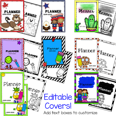 editable planner cover options for student planner Terri's Teaching Treasures