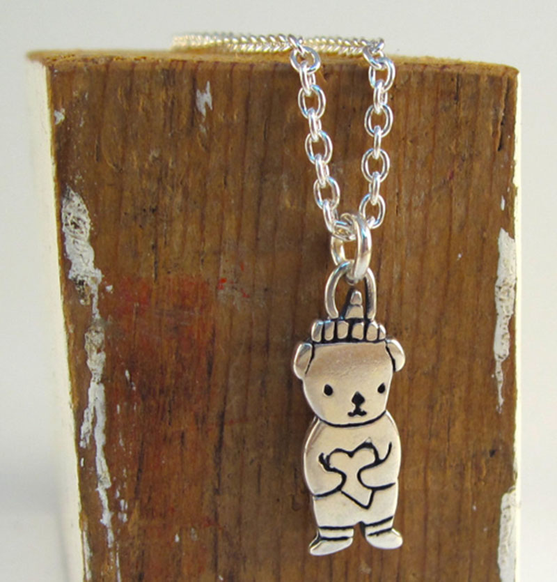 Sterling Silver Honey Bear pendants and necklaces by Mark Poulin