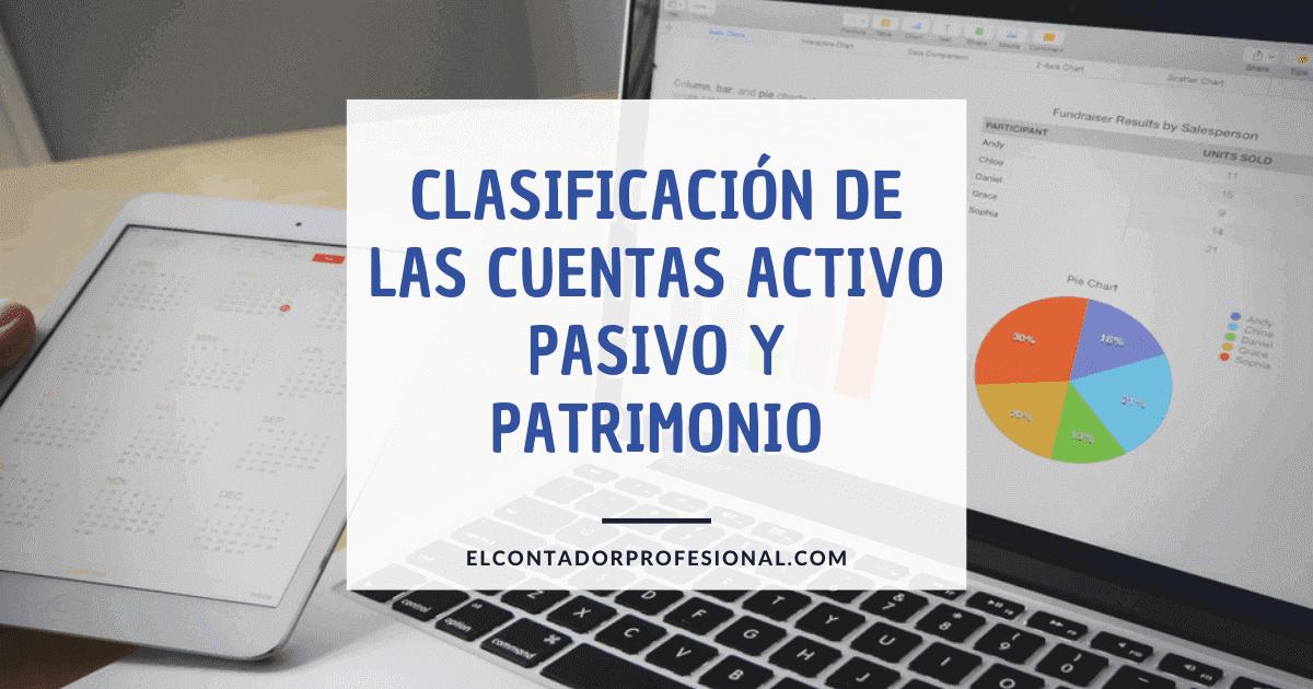 clasificacion de las cuentas activo pasivo y patrimonio