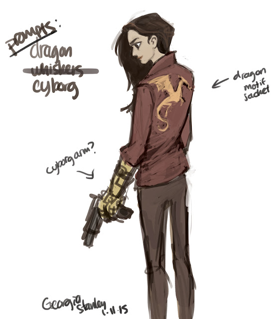 girl with cyborg arm wearing dragon jacket